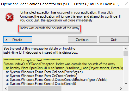 the exception 434352 occured in the application