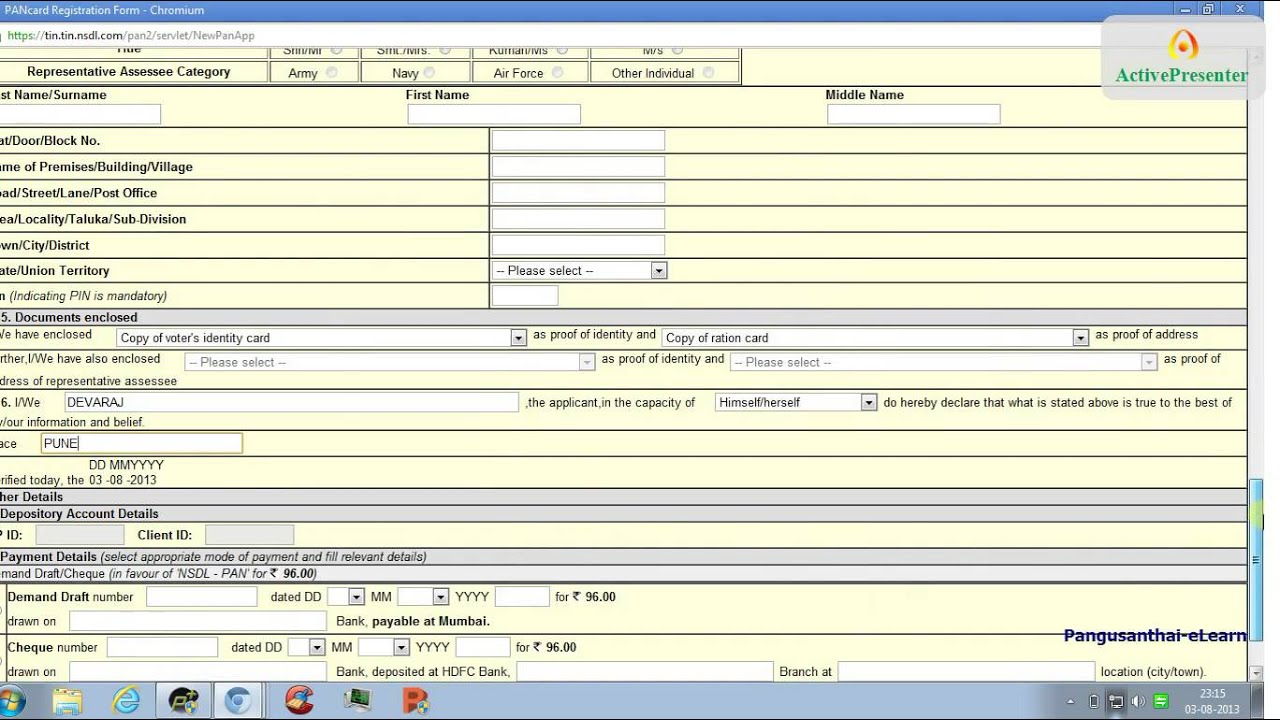how to print filled indian pan card application