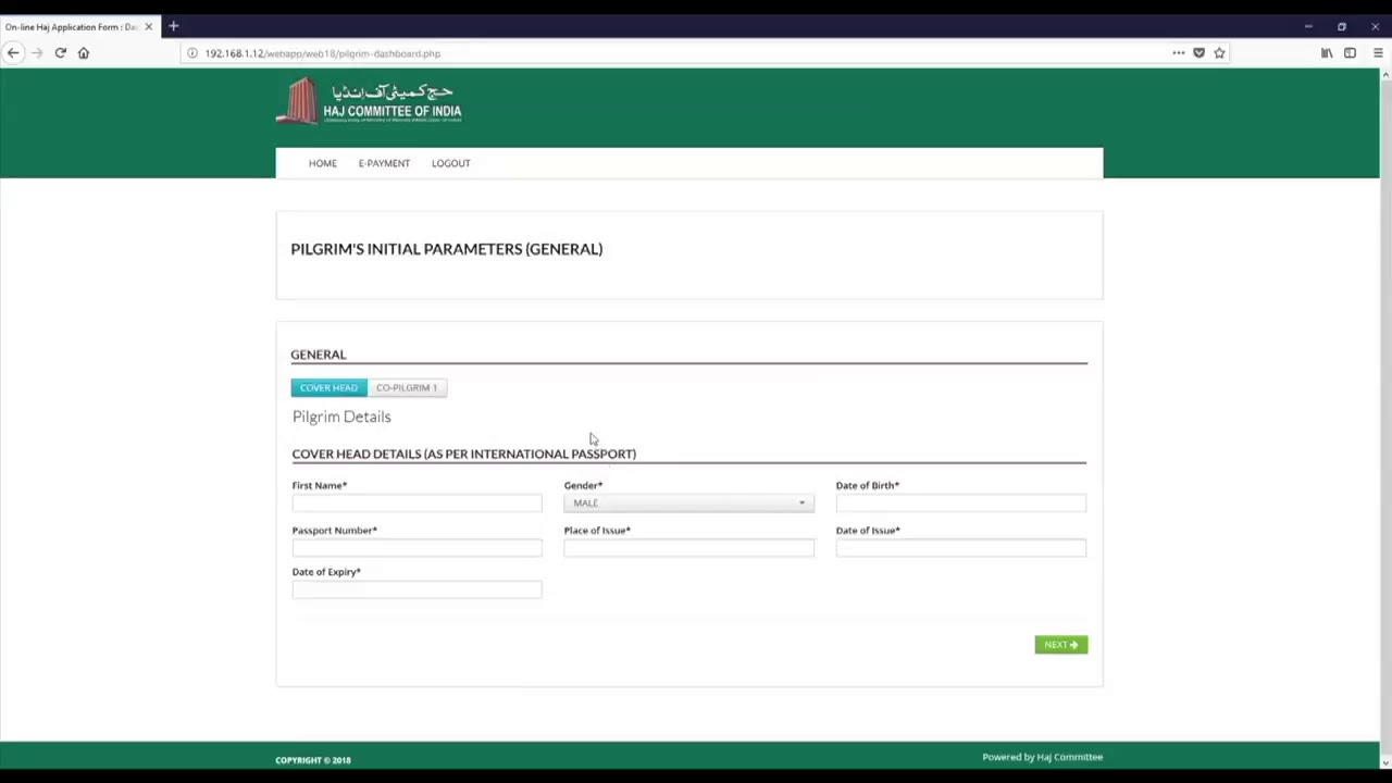 haj committee of india online application