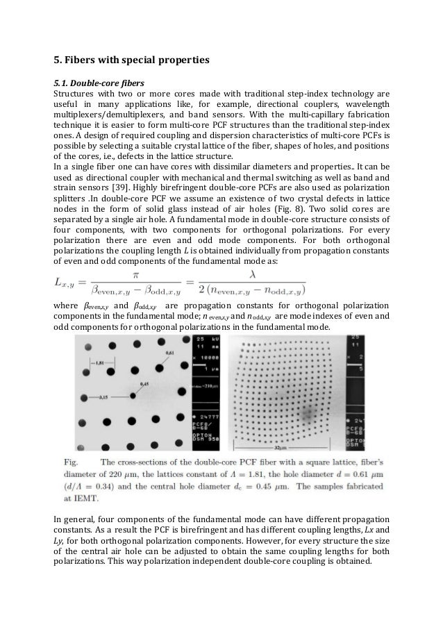 photonic crystal fibers properties and applications