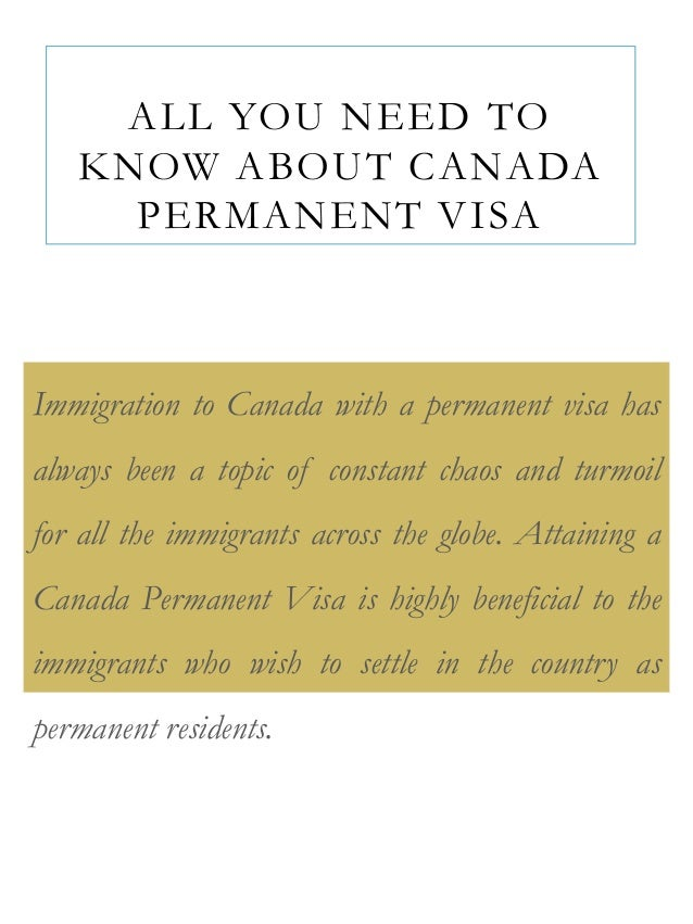 what is needed for permanent residancy application in canada