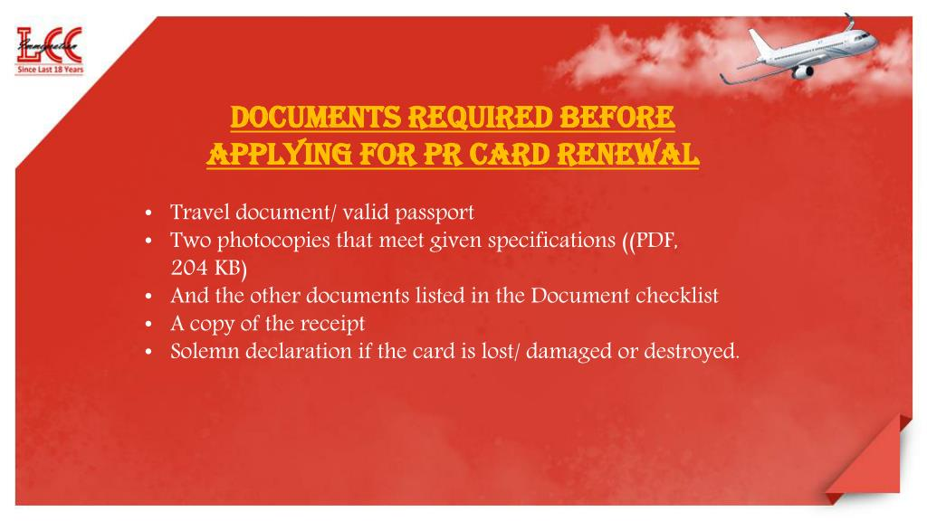 document checklist application for a permanent resident card canada