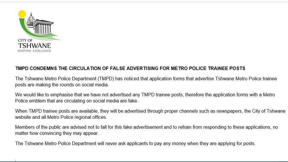 tshwane metro police application forms