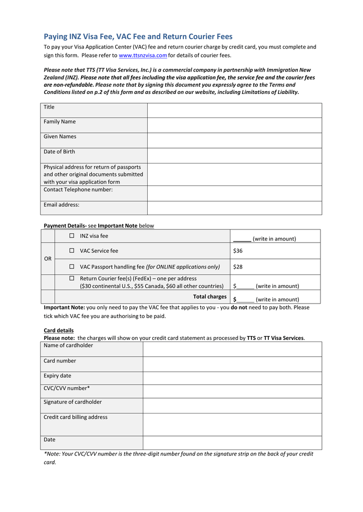 visa center toronto application form