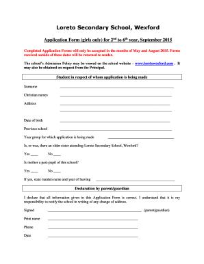 secondary school application form newham