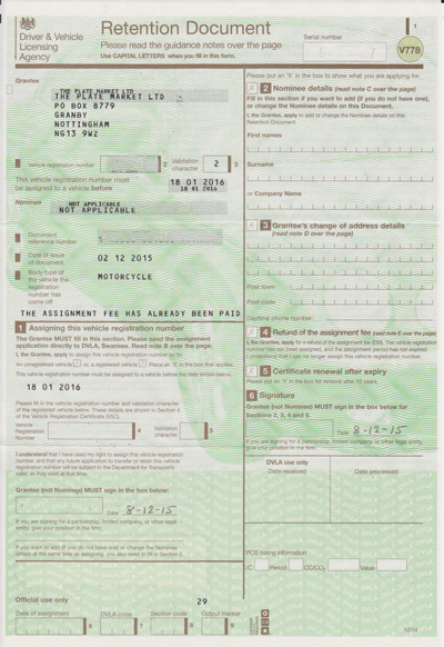 dvla application for a vehicle registration certificate