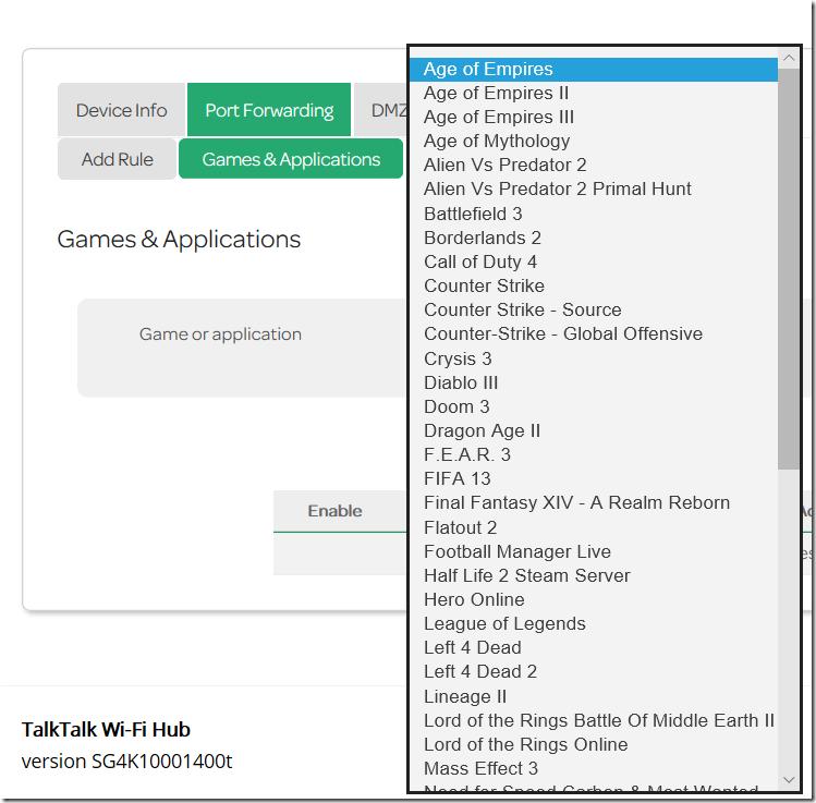 what common application should i use for games portfowarding