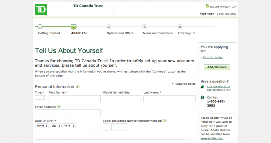 td canada trust credit card application on the phone