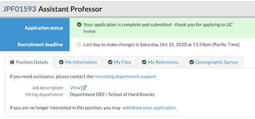 email to check in on job application status