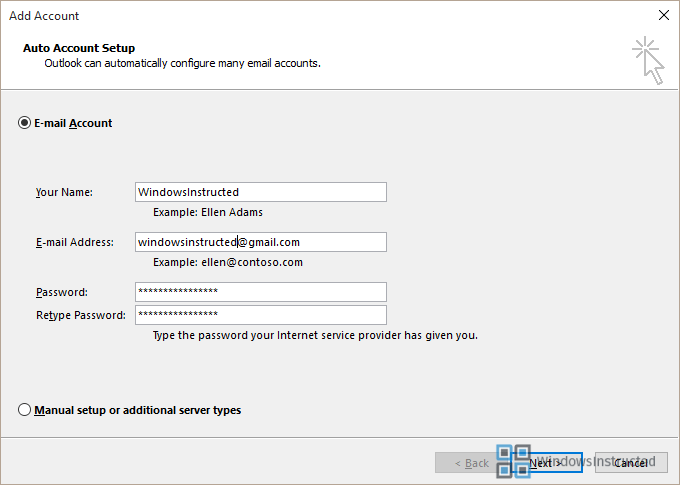 google application specific password outlook