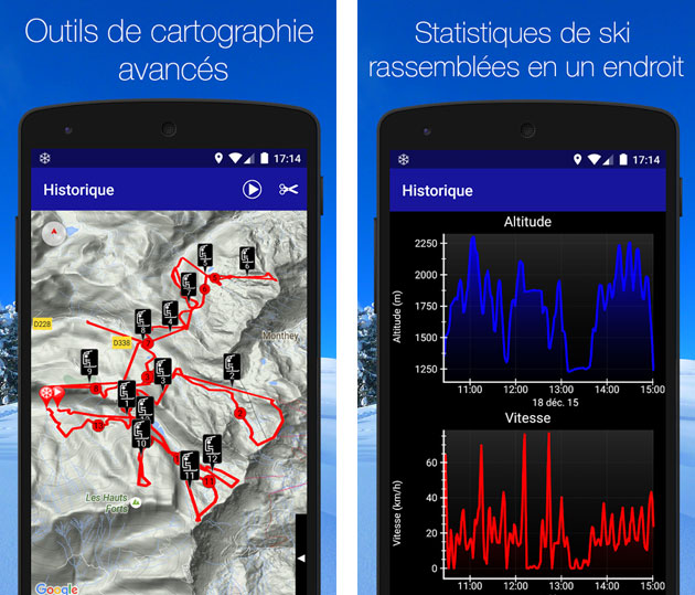 application pour mesurer la vitesse en ski