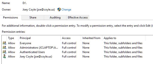 access denied application data windows 10
