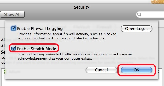 mac os x application level firewall