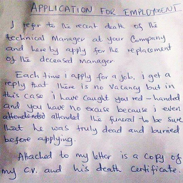 funny things to send with job application