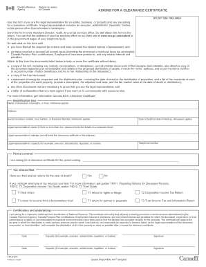 tx19 application for clearance certificate