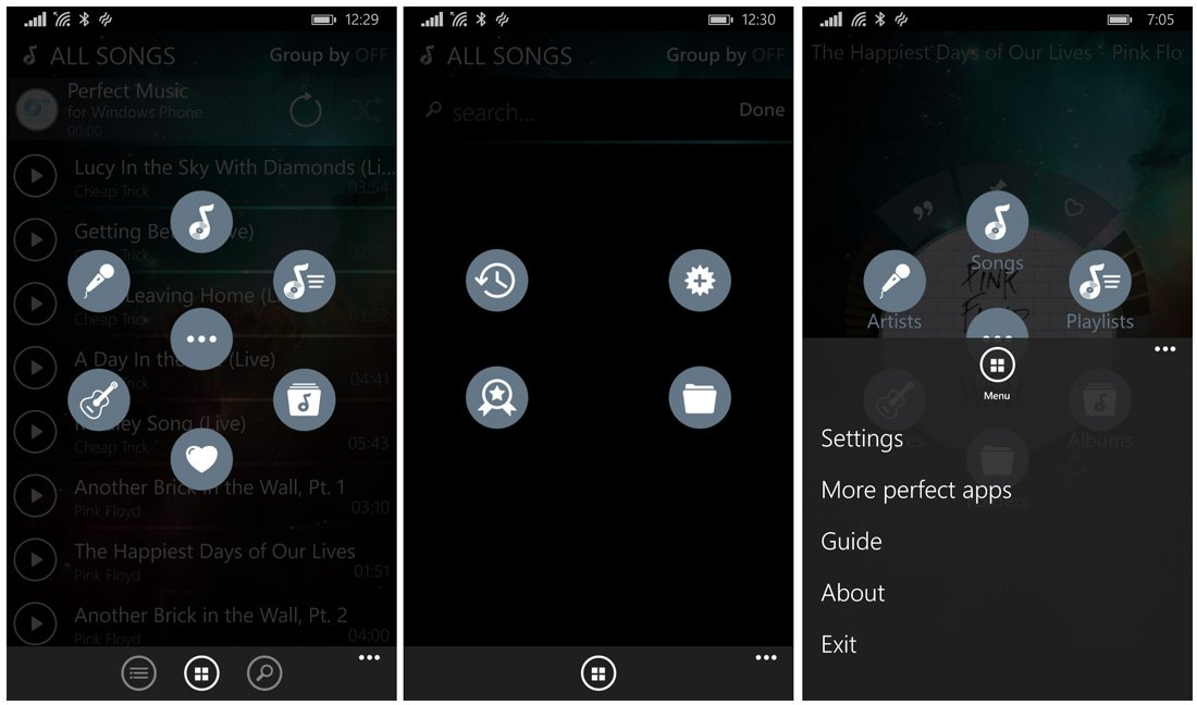menu application like windows phone