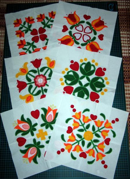 applique flower bud quilt square