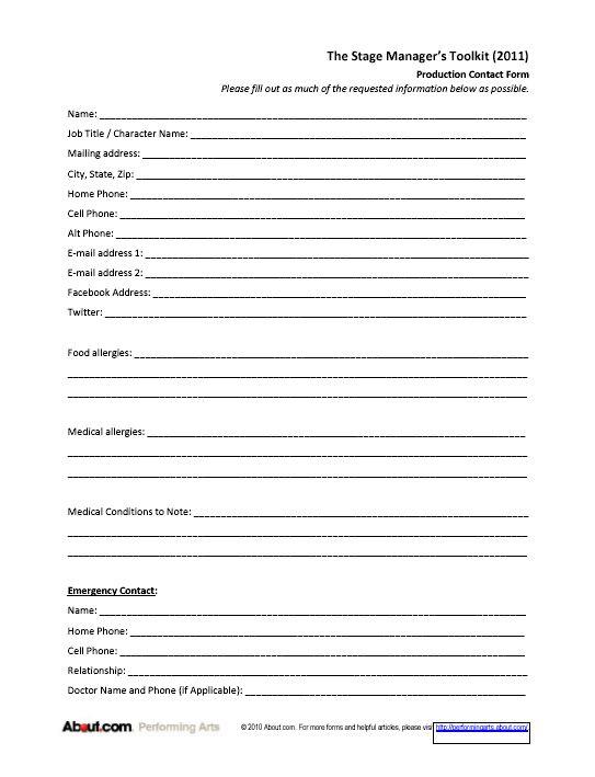 personal fact sheet job application