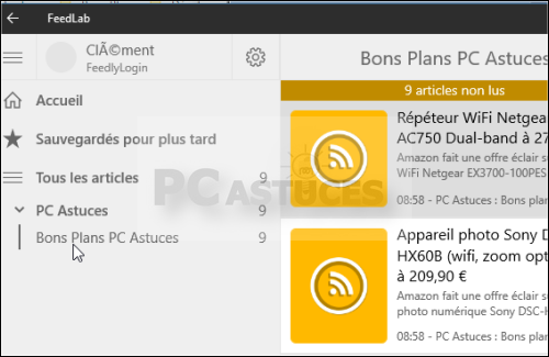 application fill rss dans la barre