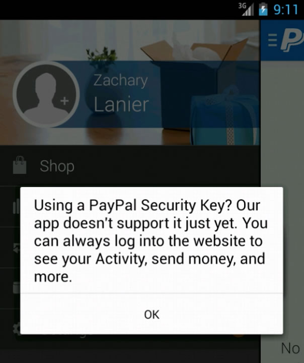 paypal android application not authorized