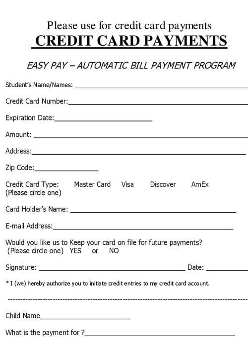free blank credit application form