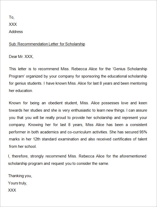 writing a reference letter for scholarship application