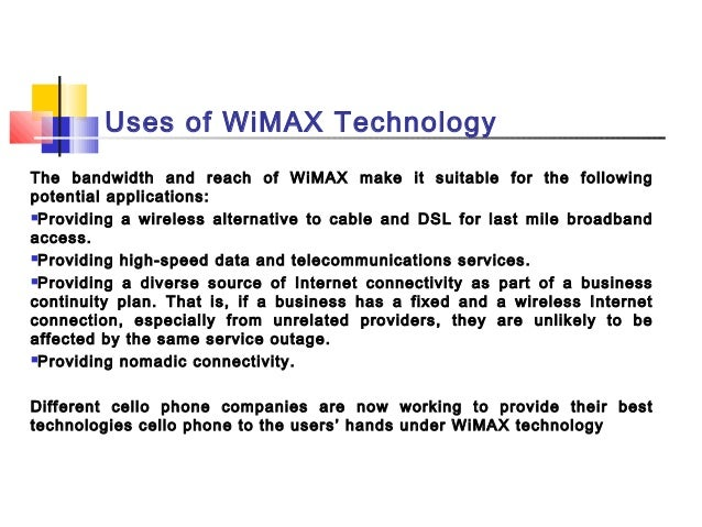 wimax technology and its applications