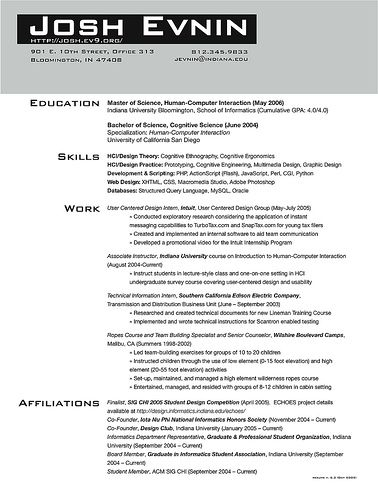 grad school application resume sections