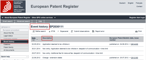how to revive a deemed withdrawn application epo