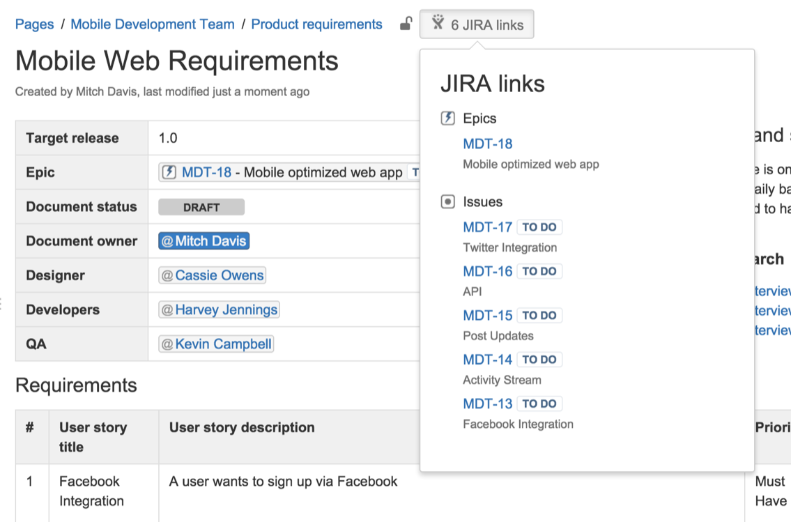 jira and confluence application link