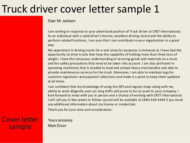 job application letter for driver position