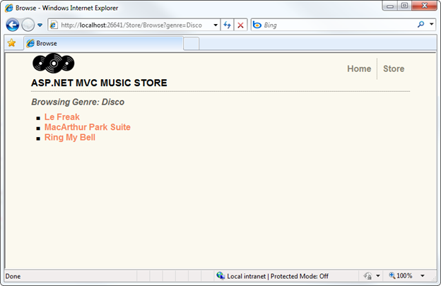 music store application in mvc 5