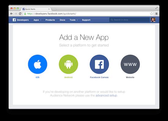 register a new facebook application