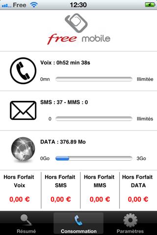 suivi conso free mobile application