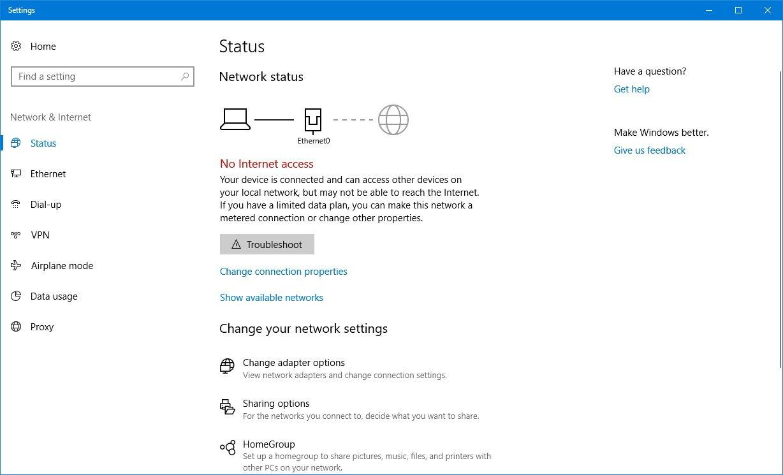 windows 10 application no internet access