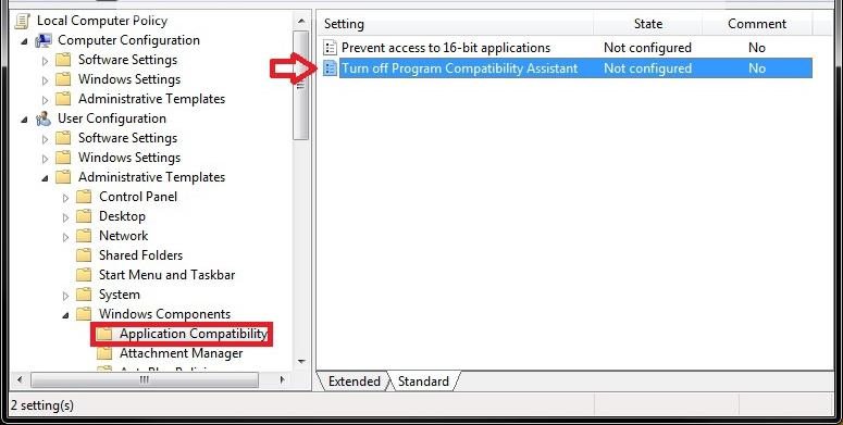 windows 7 application compatibility settings unavailable